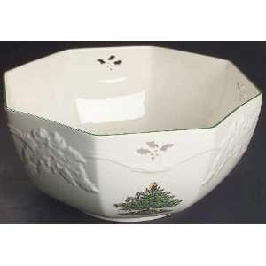 Spode Christmas Tree Green Trim 10 Octagonal Serving Bowl, Fine China