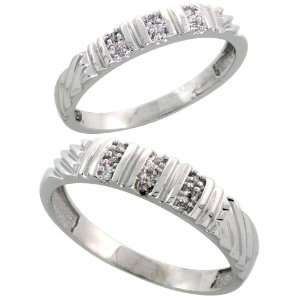 Sterling Silver Diamond Wedding Rings Set for him 5 mm and