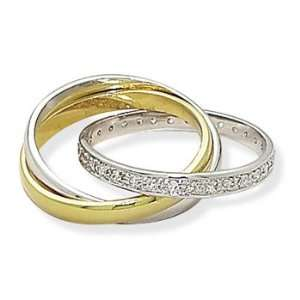 Sterling Silver Three Band 14K Gold Plate and Rhodium Plated CZ Ring