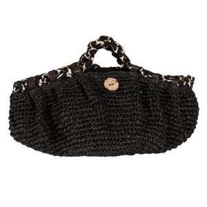 Saro Lifestyle HB326 Black Tote Bag, Straw Design Tote Bag