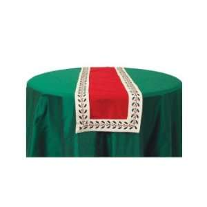 Red Embroidered Holly Christmas Table Runner 14 x 72