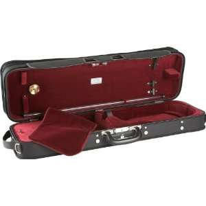 J.Winter Extra Light Series Violin Case, Black with Wine