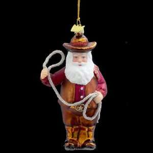 Pack of 8 Noble Gems Glass Cowboy Santa Claus Christmas Ornaments 4.75