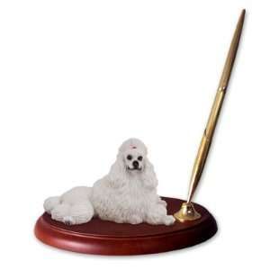 Poodle Dog Desk Set   White