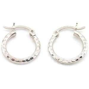 White gold Earrings Faceted Hoop Round Ear Jewelry