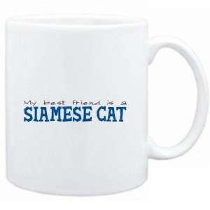 Mug White  My best friend is a Siamese  Cats  Sports
