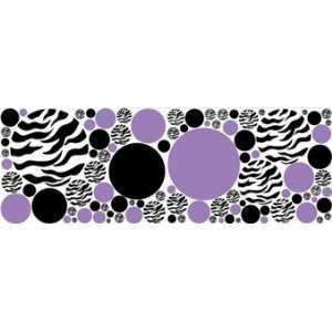 Zebra Print Black and Purple Dot Wall Stickers