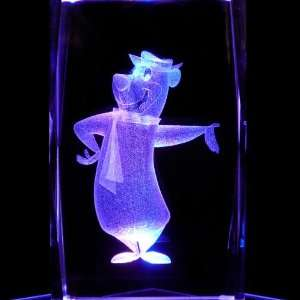 Yogi Bear 3D Laser Etched Crystal includes Two Separate LEDs Display