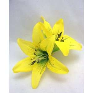 Double Yellow Lily Hair Flower Clip