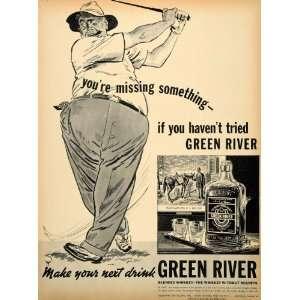 1938 Ad Green River Whiskey Oldetyme Golf Davis Pint