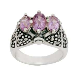 Sterling Silver Marcasite Triple Amethyst Band Ring, Size 7 Jewelry
