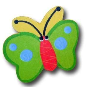 Butterfly Drawer Knob in Green / Yellow Back