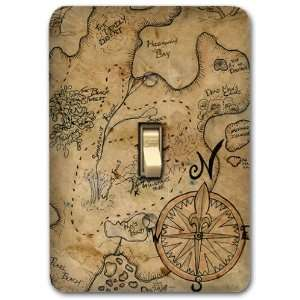Pirate Island Treasure Map Metal Light Switch Plate Cover Home Decor