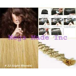 New 25 Strands Deep Wave Curly Pre Bonded U Nail Tip Fusion Remy Human