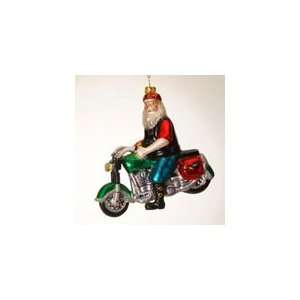 Sterling Inc Santa Claus on motorcycle Glass Christmas
