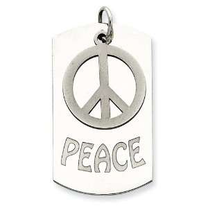 Sterling Silver Personalizable 2 piece Peace Dogtag Charm Jewelry