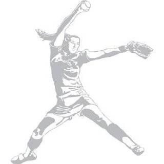 Sudden Shadows Girl Softball Pitcher Wall Sticker Mural