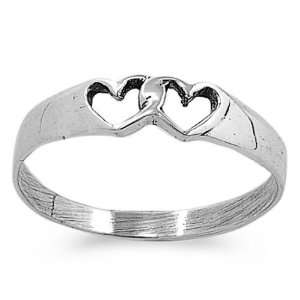 Sterling Silver Two Hearts Ring, Size 4 Jewelry