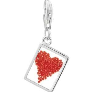 Pugster 925 Sterling Silver Red Hots Heart Photo Rectangle