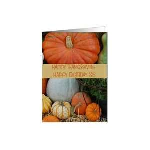 Happy Thanksgiving Birthday Sis, colorful pumpkins Card