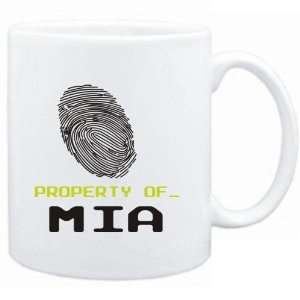 Mug White  Property of _ Mia   Fingerprint  Female Names