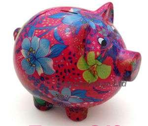 GIANT PIGGY BANK Big Colourful Pink Pig Coin Money Savings Box Ceramic