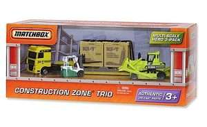 MATCHBOX: Construction Zone Trio: Big Rig Hauler, Bulldozer, Fork Lift