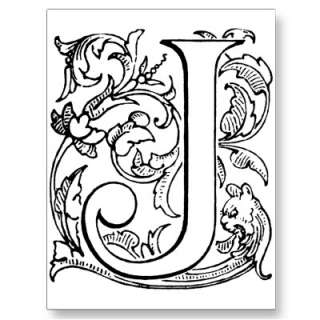 Letter J Monogram Post Cards by nikki_19r
