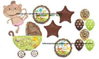 JUNGLE SAFARI MONKEY lime leopard chocolate balloons Baby shower party