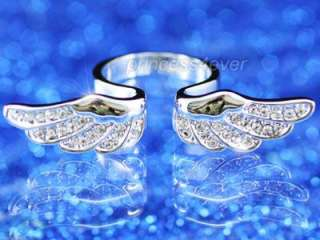 Angel Wing Ring use Swarovski Crystal Size 6 #SR066