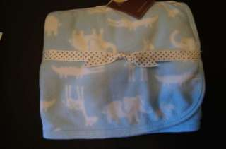 New Carters Blue Jungle animal baby boy blanket 28 x 30