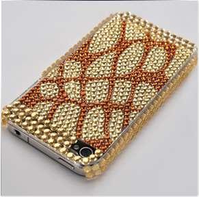 ANIMAL PRINT DESIGN RHINESTONE DIAMOND BLING CASE COVER FOR IPHONE 4