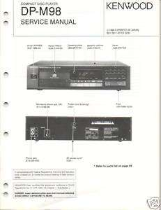 Original Service Manual Kenwood DP M98 CD Player