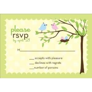 Bird Tree Egg Boy Girl Twins Baby Shower Reply Cards