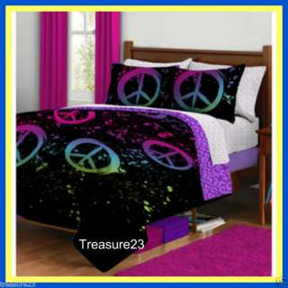 Peace Signs Girls Teen TWIN Bed In A Bag Bedding Set
