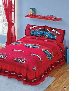 Boys Hot Wheels Red Bedspread Sheets Bedding Set Full 5