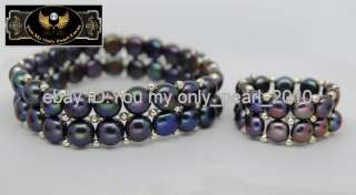 MP Genuine Cultured Black Pearl Bracelets & Ring Set