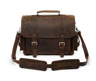 Large Classic Leather Briefcase Messenger Bag Laptop Satchel Attache