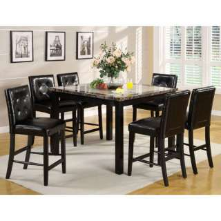Atlas 7 Piece Faux Marble Top Counter Height Table Set