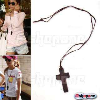 Retro Style Fashion Lady Wood Wooden Cross Pendant Long Strap Rope