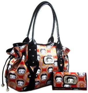 Licensed Betty Boop Side Drawstring Tote Purse Handbag Wallet SET Red