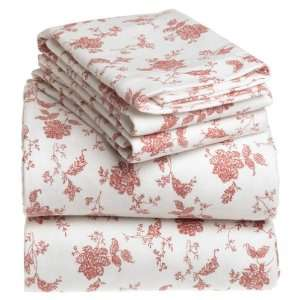 Ounce Luxury Weight Flannel Full Sheet Set, Chloe Red