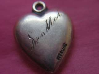 PUFFY HEART CHARM STERLING SILVER FLOWERS ENGRAVED PRE MED