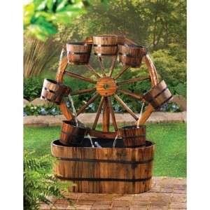 COUNTRY WAGON WHEEL WOODEN WOOD BARREL GARDEN OUTDOOR YARD PATIO WATER