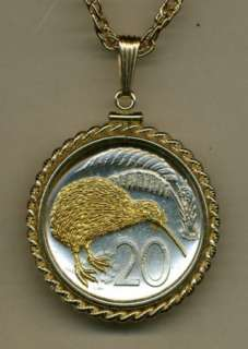 Gold on Silver New Zealand Kiwi Bird Coin Necklace in Gold Filled