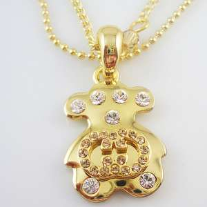 18K yellow gold plated two necklace bear pendant NE31