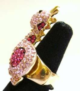 Dinosaur Pink Crystal Gold Tone Stretch Adjustable Ring