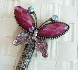 SWAROVSKI CRYSTAL BRONZE BUTTERFLY HAIR STICK PIN PICK 557