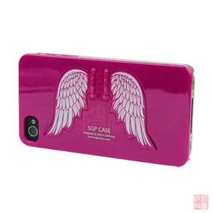 Hot Pink Angel Wing Holder Hard Case Cover For Apple iPhone 4S 4G AT&T