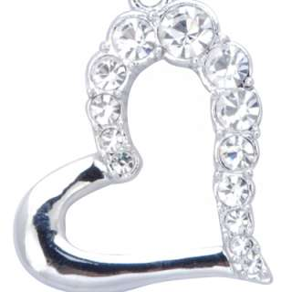 rich rhodium plated open heart shaped pendant is accented with